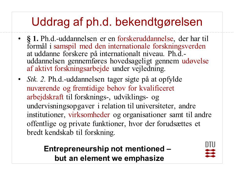 Uddrag af ph.d. bekendtgørelsen