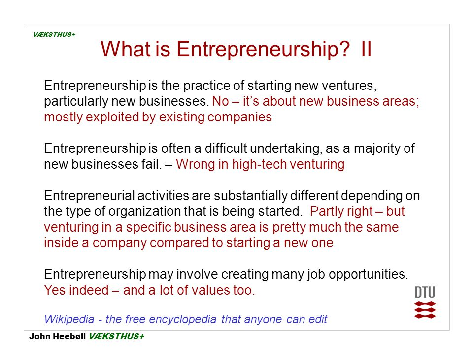What is Entrepreneurship II