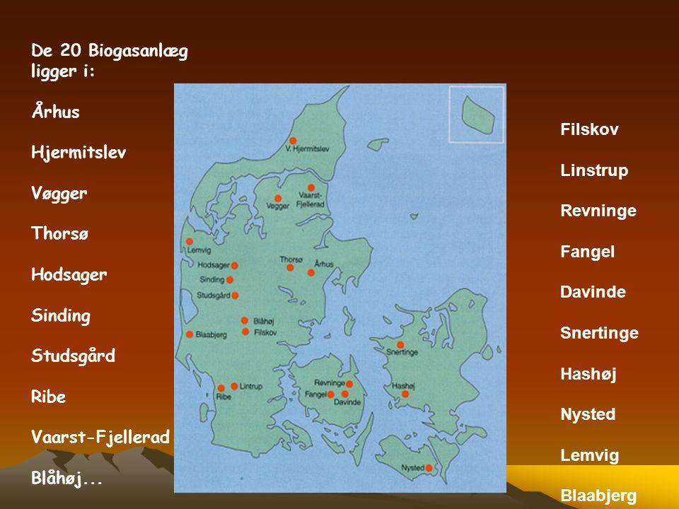De 20 Biogasanlæg ligger i: Århus. Hjermitslev. Vøgger. Thorsø. Hodsager. Sinding. Studsgård.