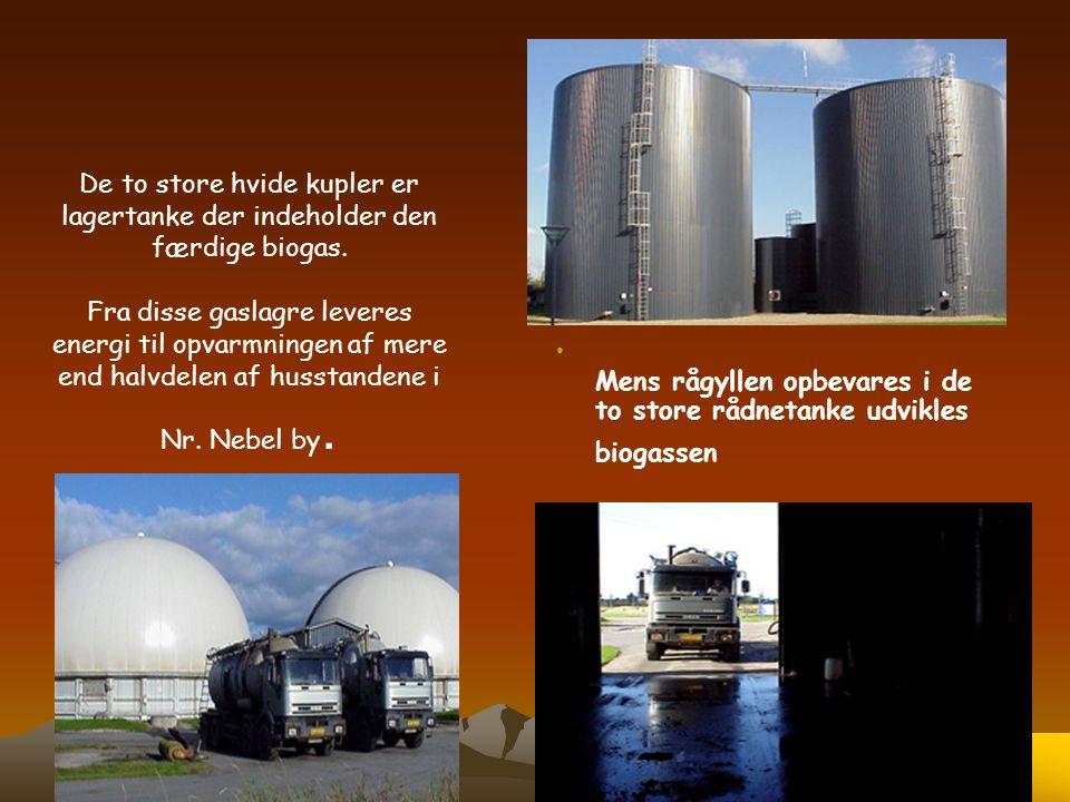 De to store hvide kupler er lagertanke der indeholder den færdige biogas. Fra disse gaslagre leveres energi til opvarmningen af mere end halvdelen af husstandene i Nr. Nebel by.