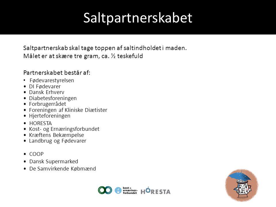 Saltpartnerskabet Saltpartnerskab skal tage toppen af saltindholdet i maden. Målet er at skære tre gram, ca. ½ teskefuld.