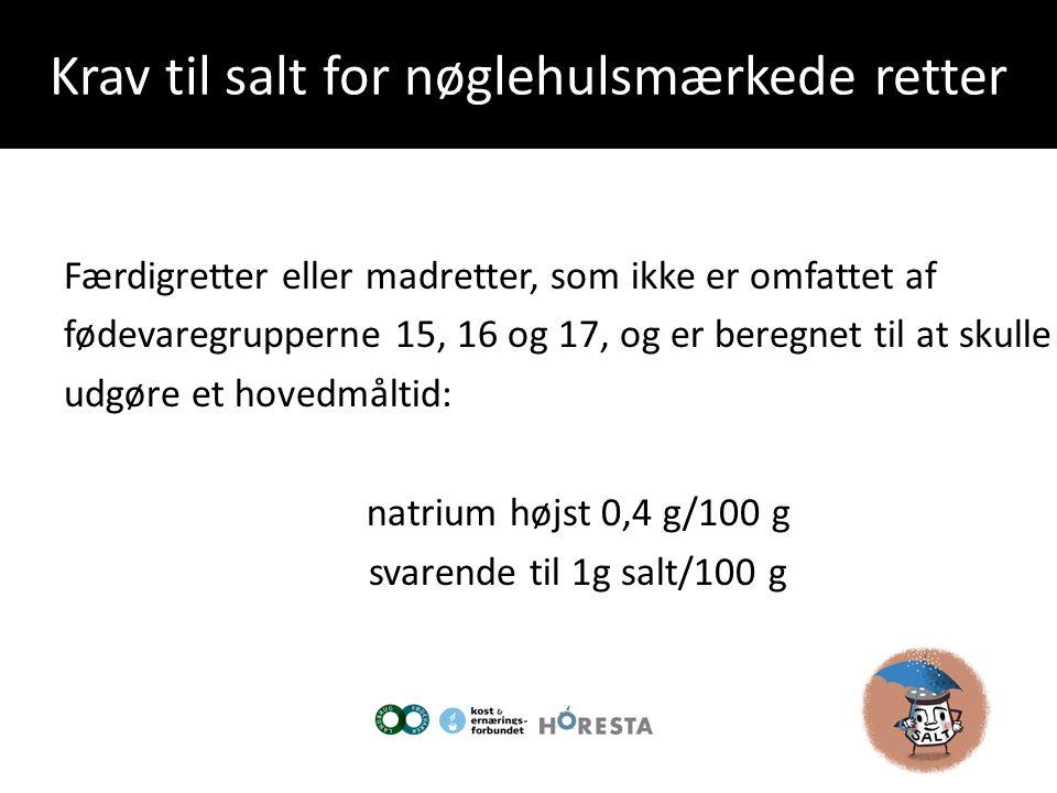 Krav til salt for nøglehulsmærkede retter