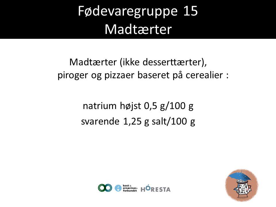 Fødevaregruppe 15 Madtærter
