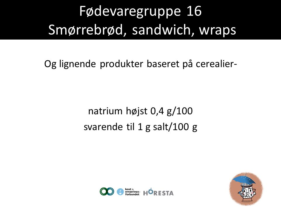 Fødevaregruppe 16 Smørrebrød, sandwich, wraps