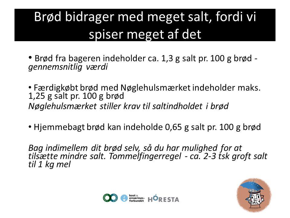 Brød bidrager med meget salt, fordi vi spiser meget af det