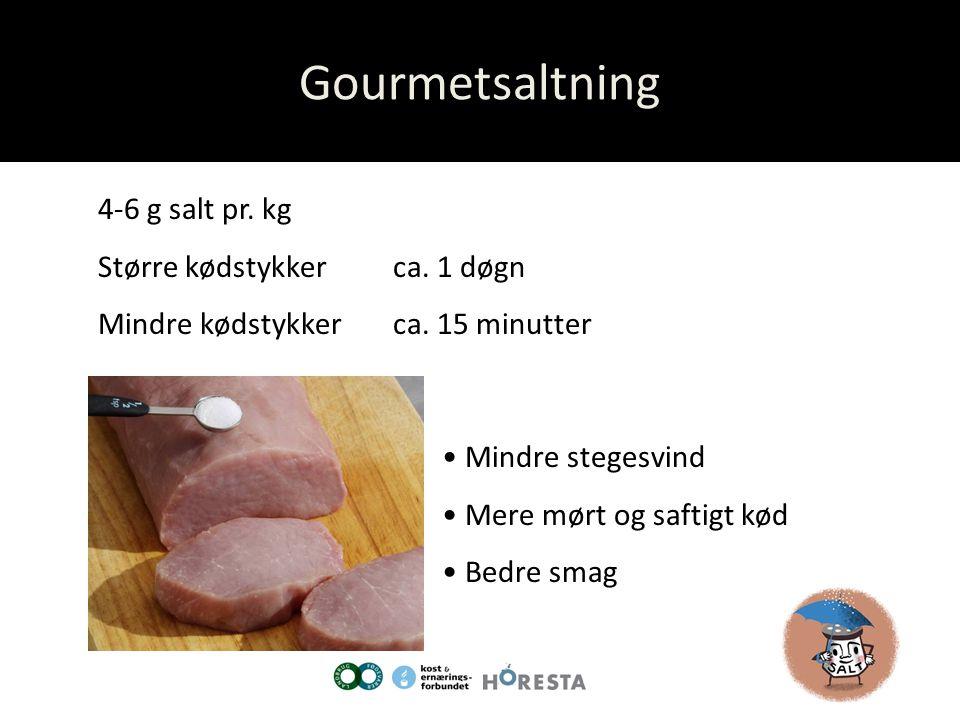 Gourmetsaltning 4-6 g salt pr. kg Større kødstykker ca. 1 døgn