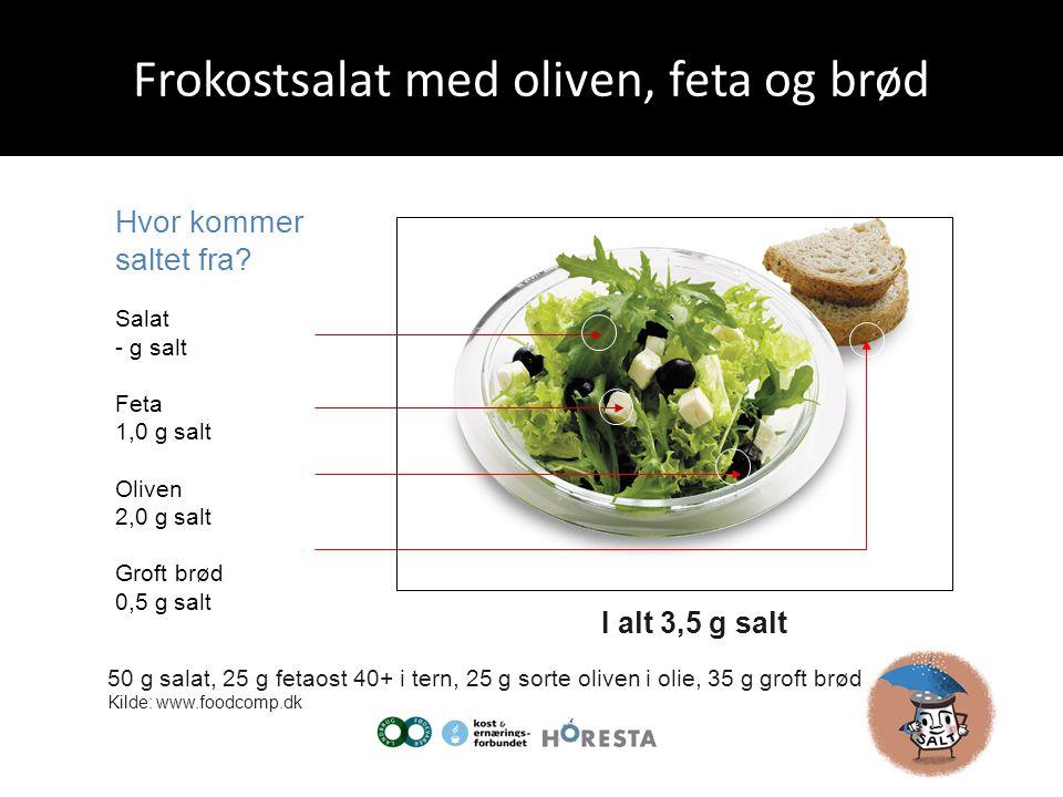Frokostsalat med oliven, feta og brød