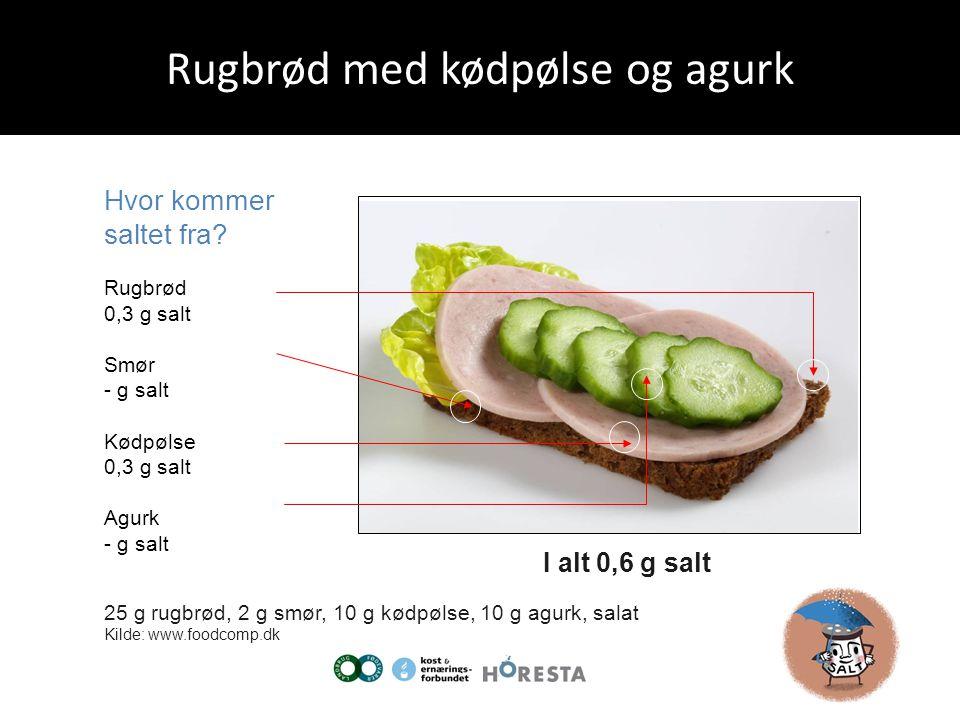 Rugbrød med kødpølse og agurk