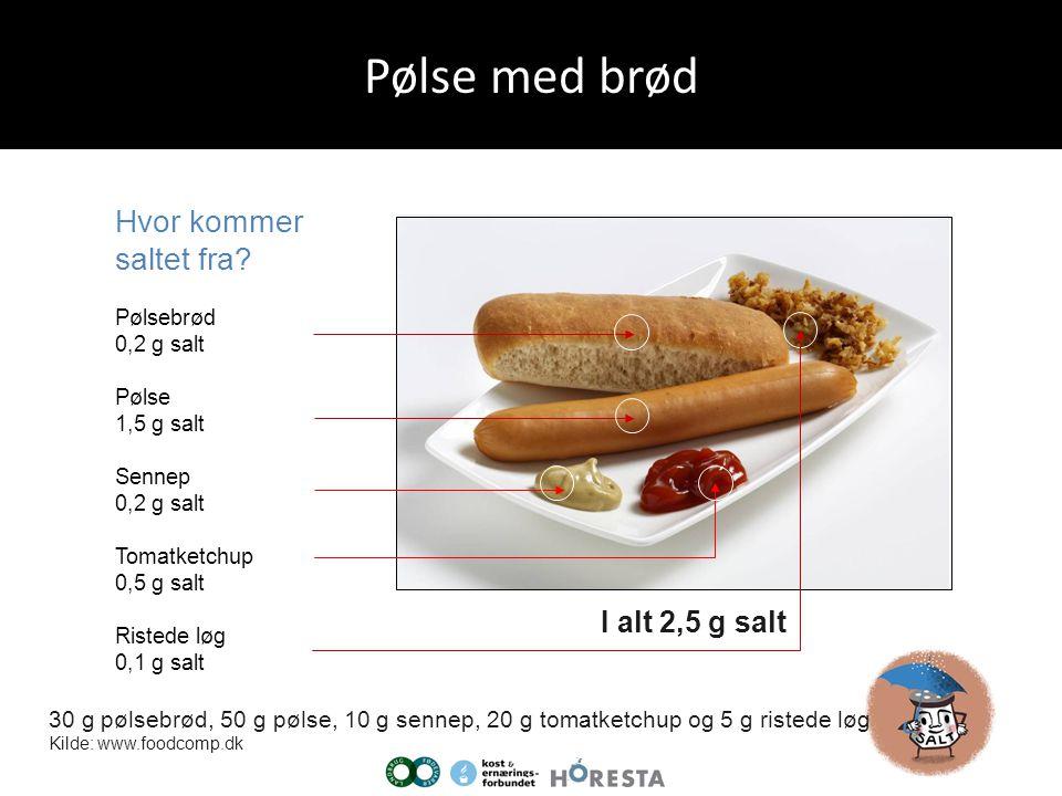 Pølse med brød Hvor kommer saltet fra I alt 2,5 g salt
