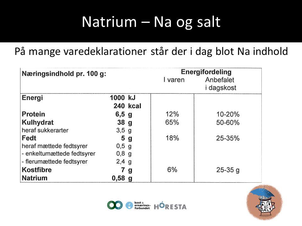 Natrium – Na og salt På mange varedeklarationer står der i dag blot Na indhold.