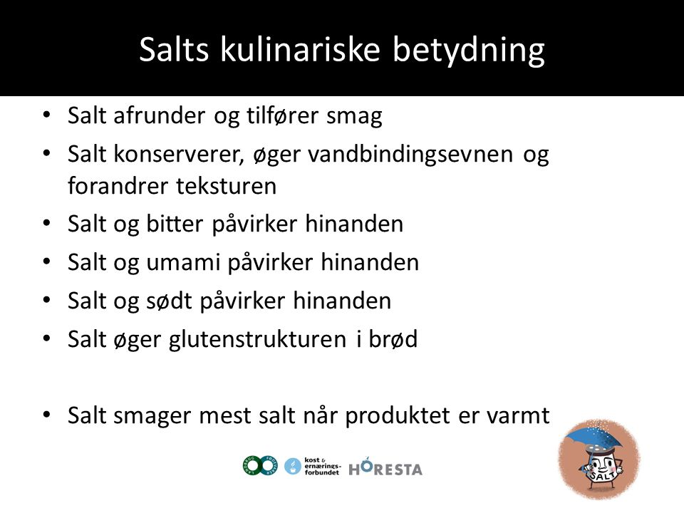 Salts kulinariske betydning