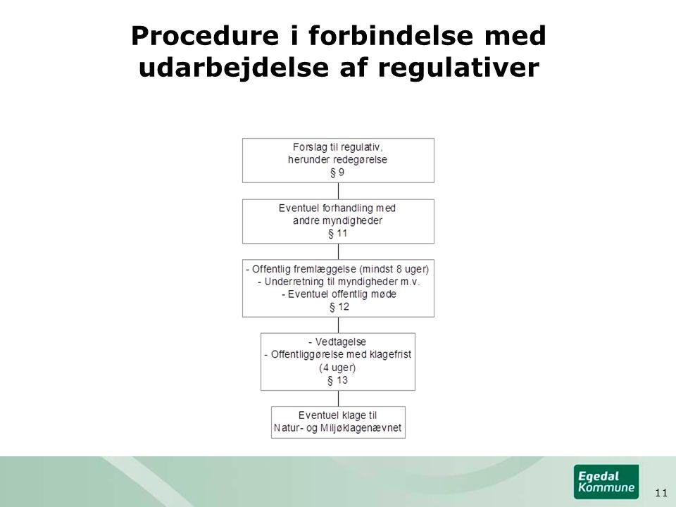 Procedure i forbindelse med udarbejdelse af regulativer