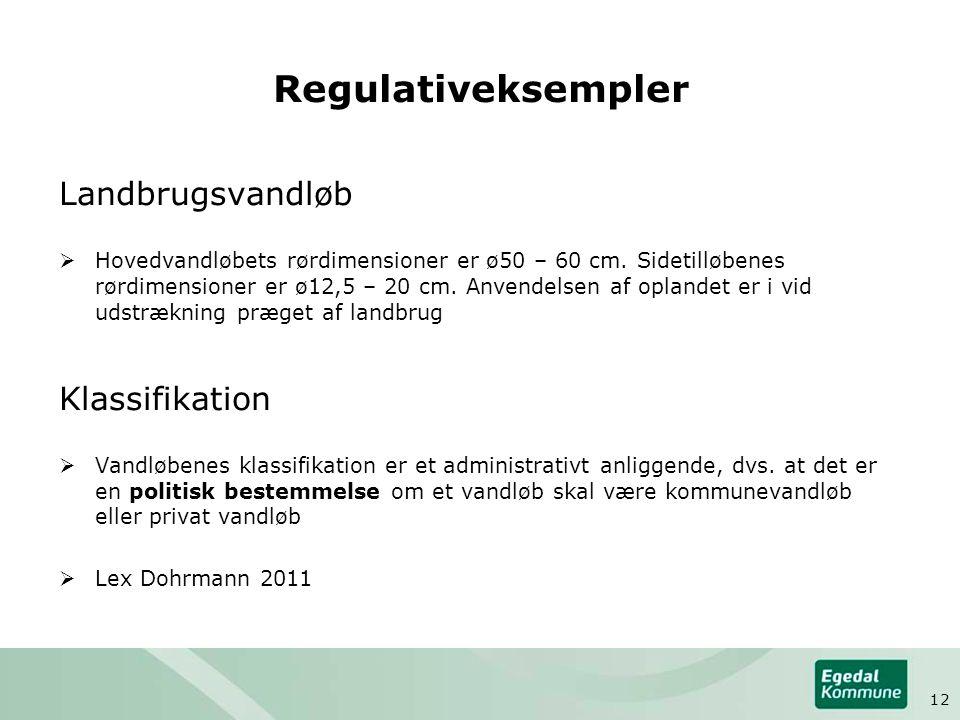 Regulativeksempler Landbrugsvandløb Klassifikation