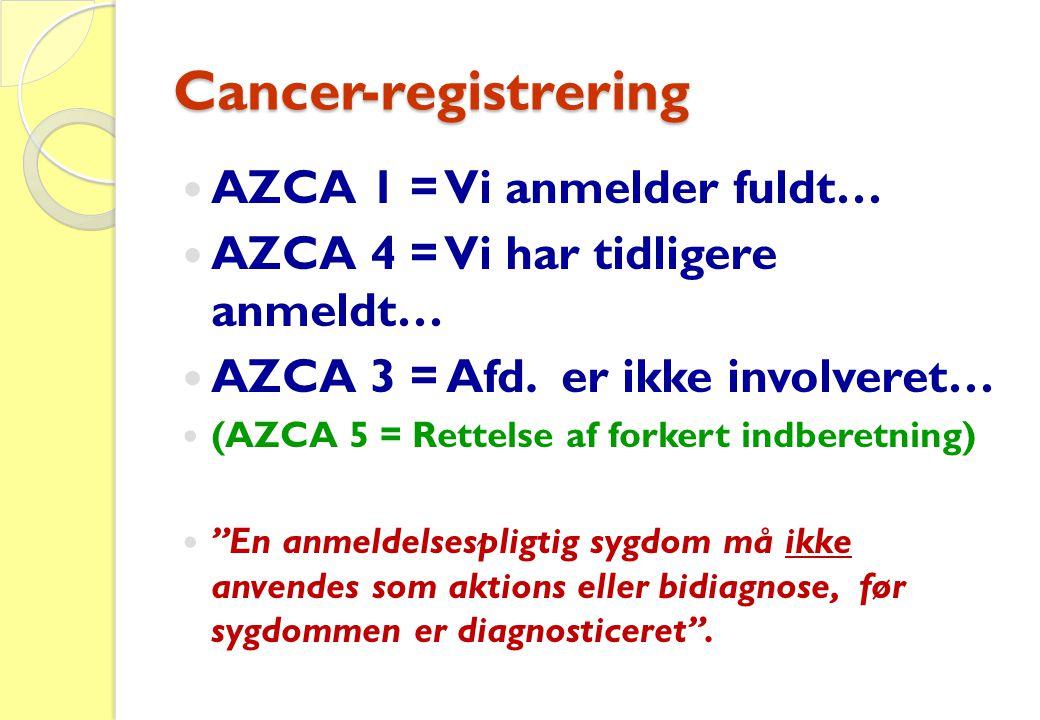 Cancer-registrering AZCA 1 = Vi anmelder fuldt…