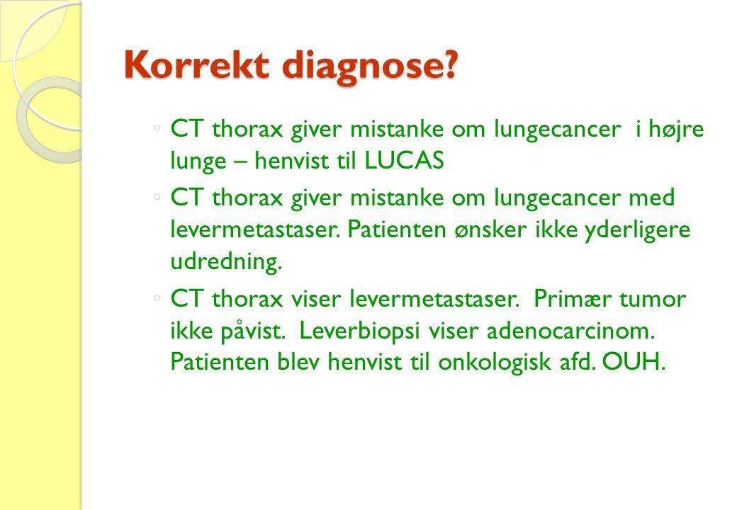 Korrekt diagnose CT thorax giver mistanke om lungecancer i højre lunge – henvist til LUCAS.