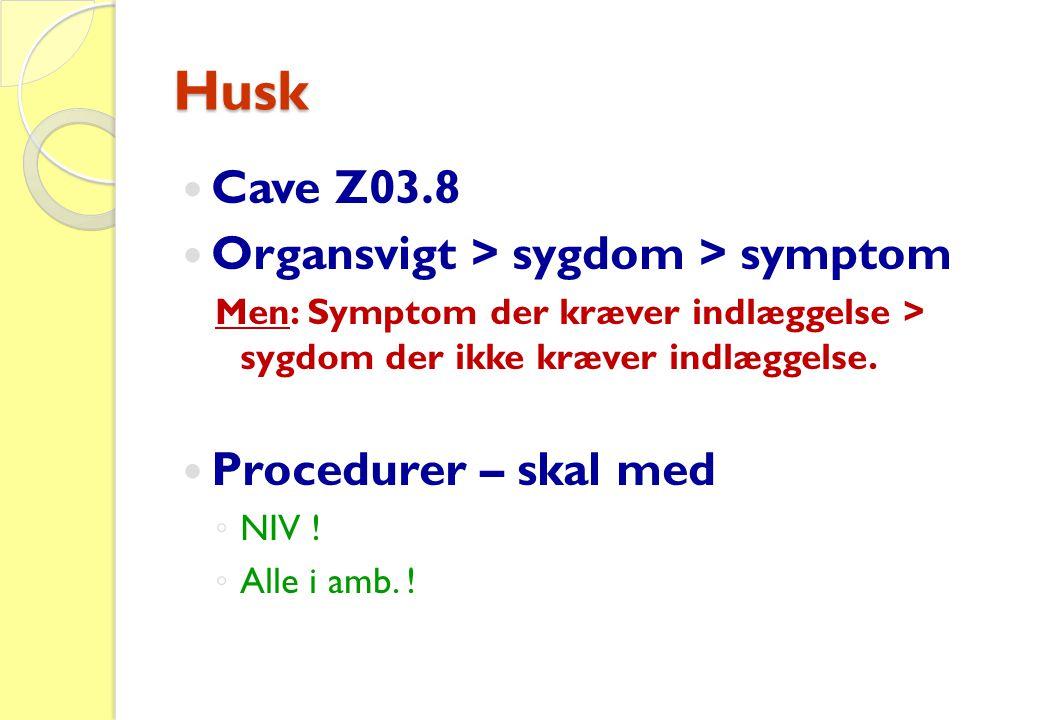 Husk Cave Z03.8 Organsvigt > sygdom > symptom