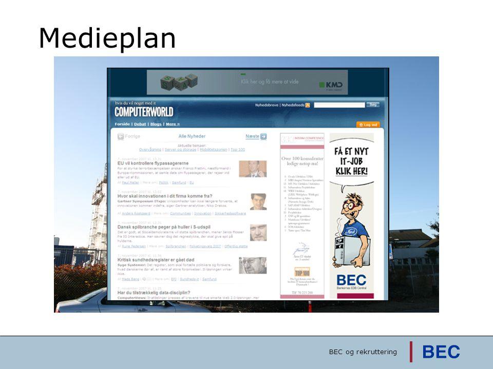 Medieplan Kampagnen er meget enkelt bygget op, med ganske få holdepunkter BEC og rekruttering