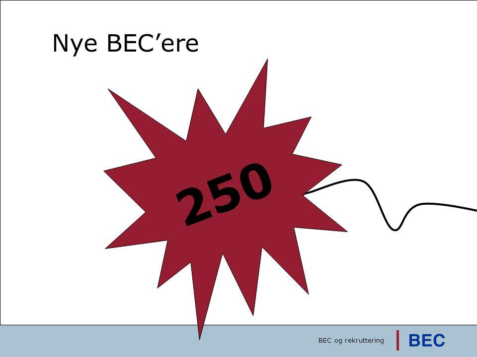 250 Succeskriterie: 1000 ansøgere Nye BEC'ere 3500 pr. 1/10-08