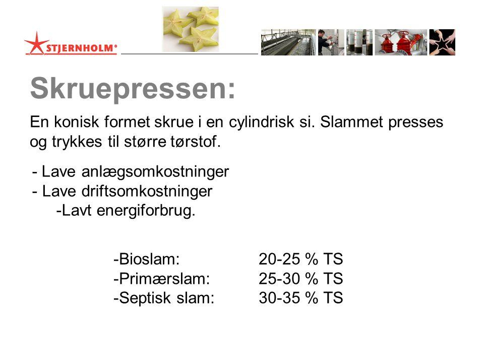 Skruepressen: En konisk formet skrue i en cylindrisk si. Slammet presses. og trykkes til større tørstof.