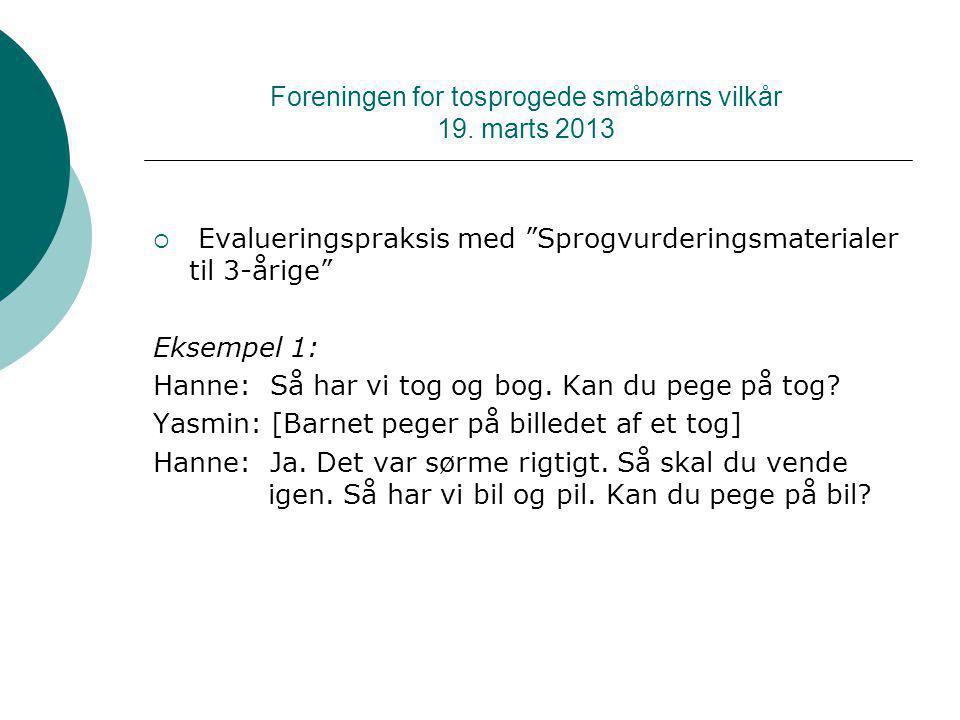 Foreningen for tosprogede småbørns vilkår 19. marts 2013