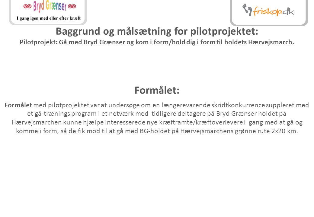 Baggrund og målsætning for pilotprojektet: Pilotprojekt: Gå med Bryd Grænser og kom i form/hold dig i form til holdets Hærvejsmarch.