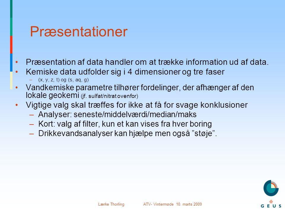Præsentationer Præsentation af data handler om at trække information ud af data. Kemiske data udfolder sig i 4 dimensioner og tre faser.