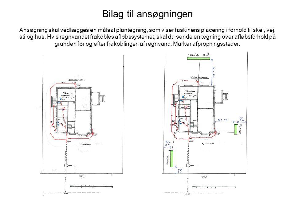 Bilag til ansøgningen Ansøgning skal vedlægges en målsat plantegning, som viser faskinens placering i forhold til skel, vej, sti og hus.