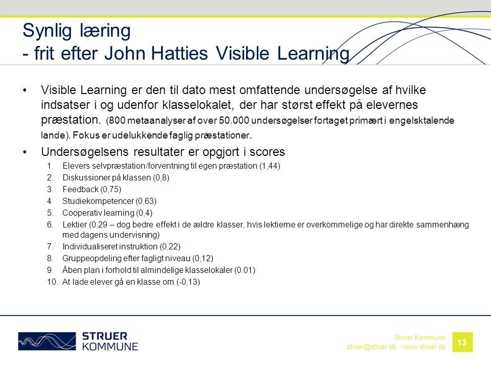 Synlig læring - frit efter John Hatties Visible Learning