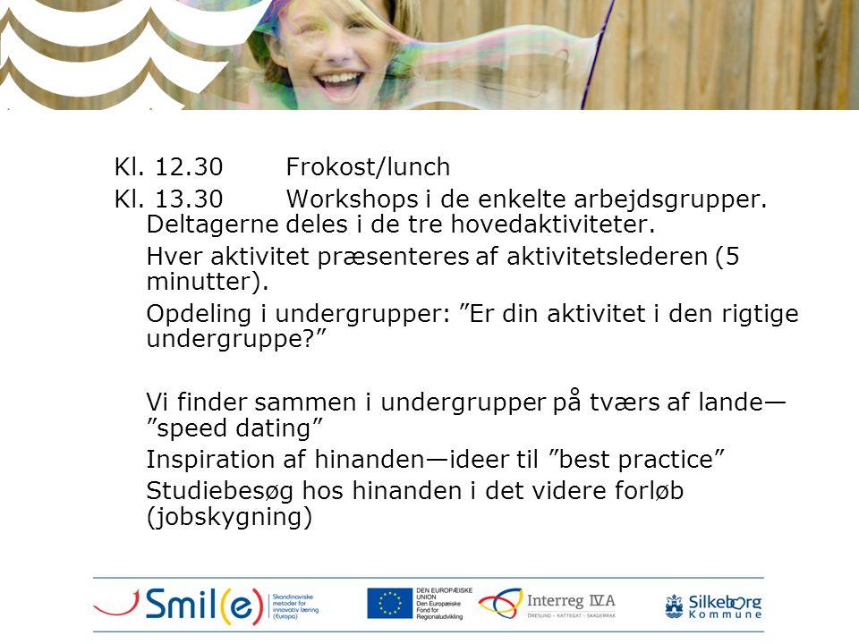 Kl. 12.30 Frokost/lunch Kl. 13.30 Workshops i de enkelte arbejdsgrupper. Deltagerne deles i de tre hovedaktiviteter.