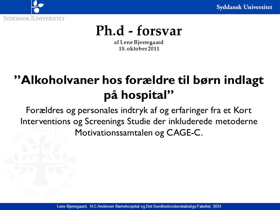 Ph.d - forsvar af Lene Bjerregaard 18. oktober 2011