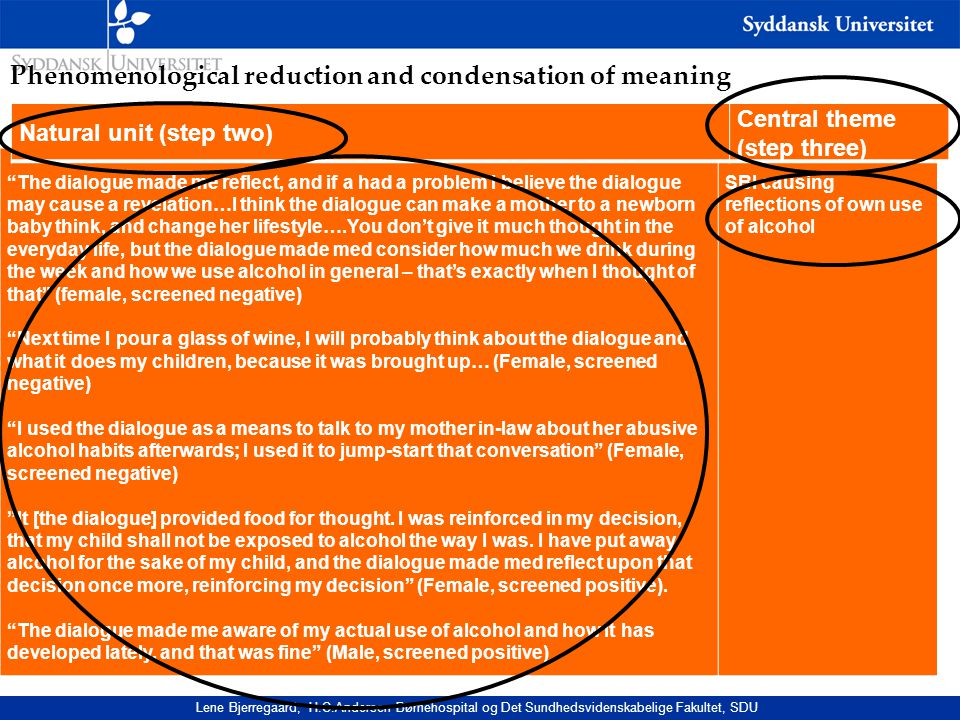 Phenomenological reduction and condensation of meaning