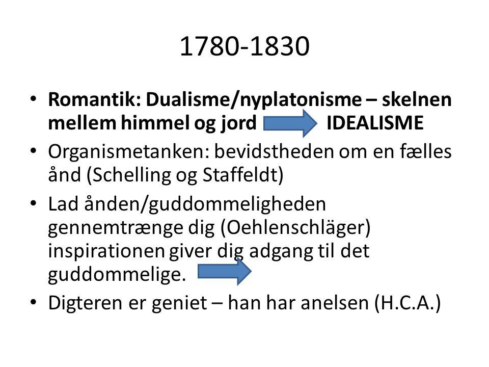 1780-1830 Romantik: Dualisme/nyplatonisme – skelnen mellem himmel og jord IDEALISME.