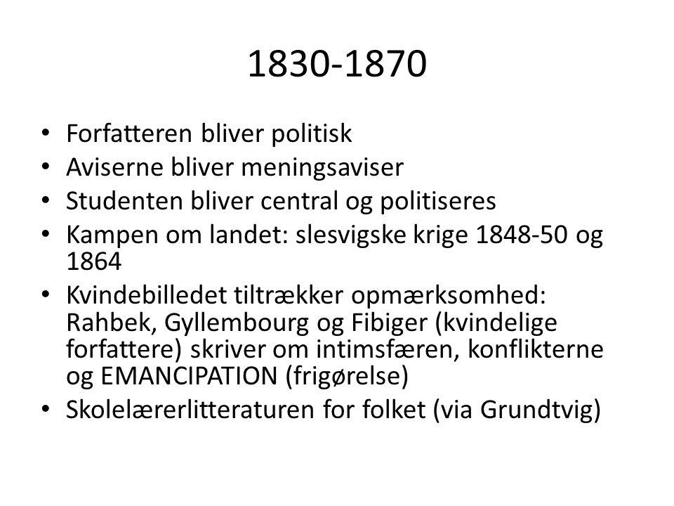 1830-1870 Forfatteren bliver politisk Aviserne bliver meningsaviser
