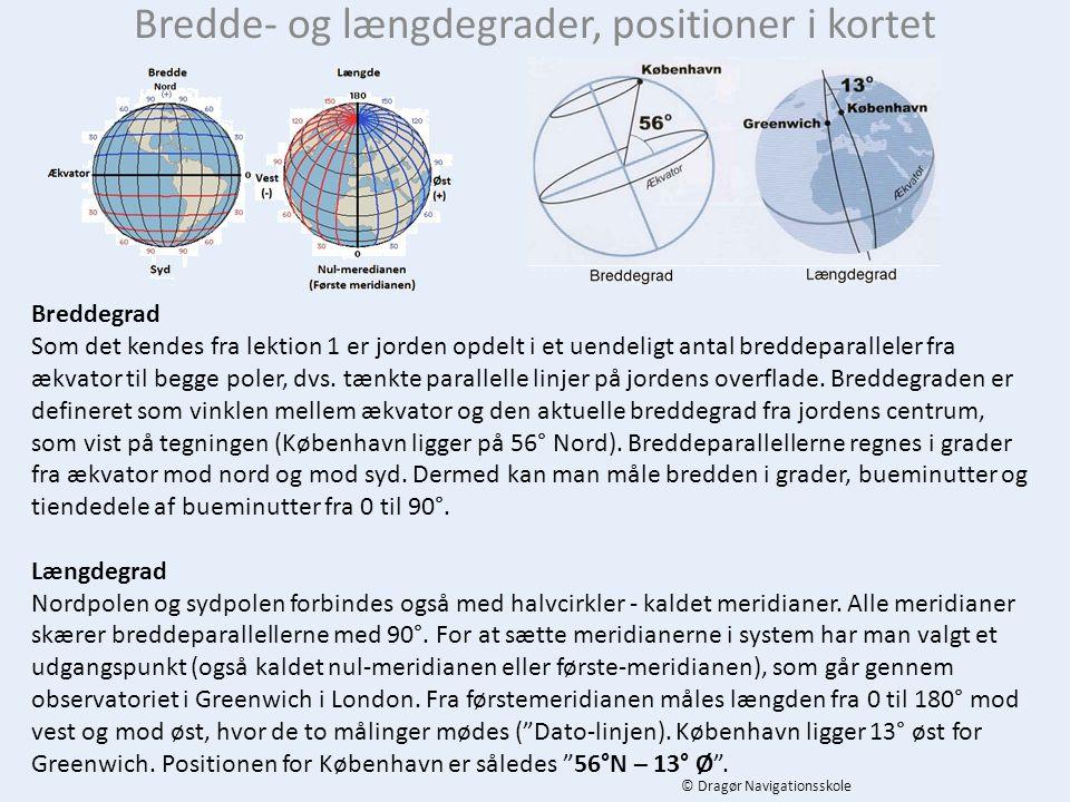 Bredde- og længdegrader, positioner i kortet