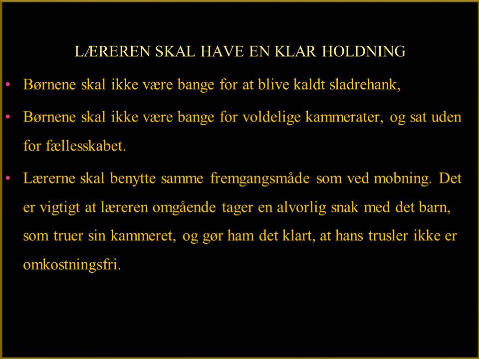LÆREREN SKAL HAVE EN KLAR HOLDNING