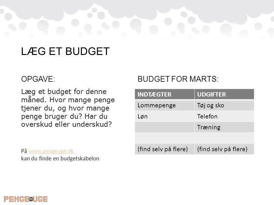 LÆG ET BUDGET OPGAVE: BUDGET FOR MARTS: