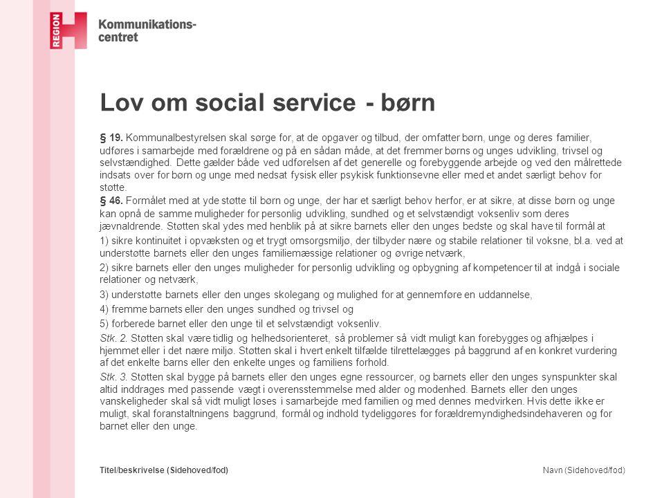 Lov om social service - børn