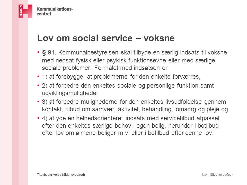 Lov om social service – voksne