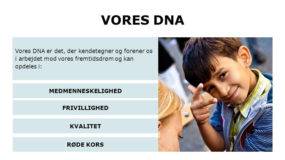 VORES DNA Vores DNA er det, der kendetegner og forener os i arbejdet mod vores fremtidsdrøm og kan opdeles i: