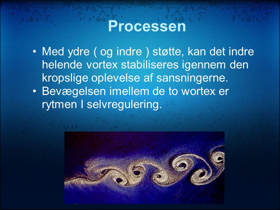 Processen Med ydre ( og indre ) støtte, kan det indre helende vortex stabiliseres igennem den kropslige oplevelse af sansningerne.