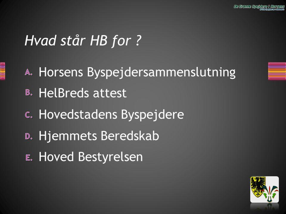 Hvad står HB for Horsens Byspejdersammenslutning HelBreds attest