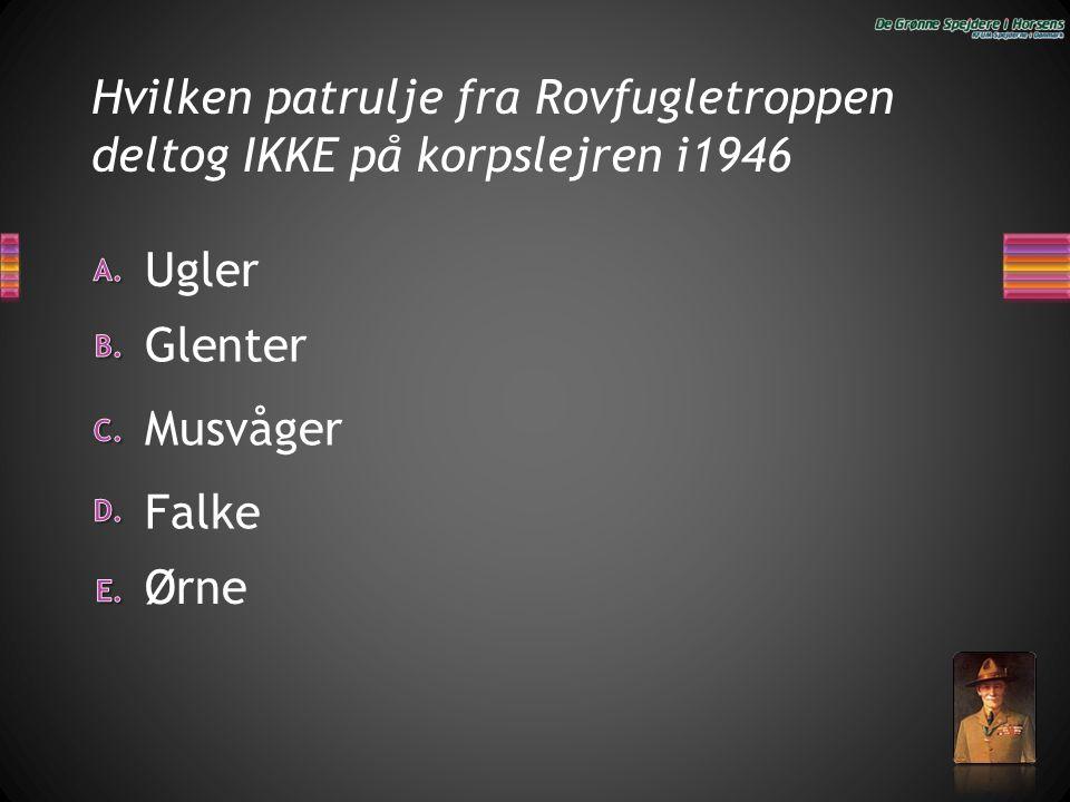 Hvilken patrulje fra Rovfugletroppen deltog IKKE på korpslejren i1946