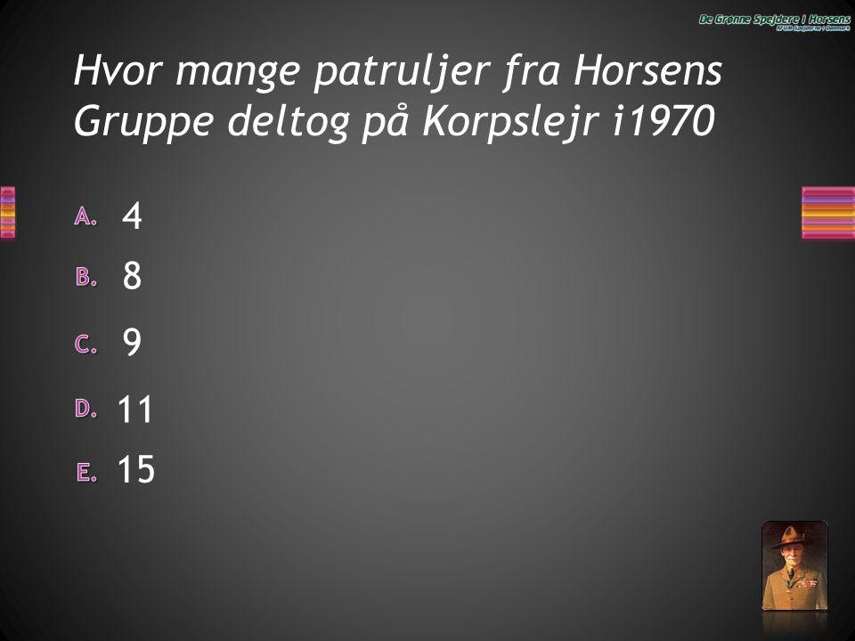 Hvor mange patruljer fra Horsens Gruppe deltog på Korpslejr i1970