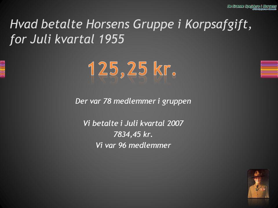 Hvad betalte Horsens Gruppe i Korpsafgift, for Juli kvartal 1955