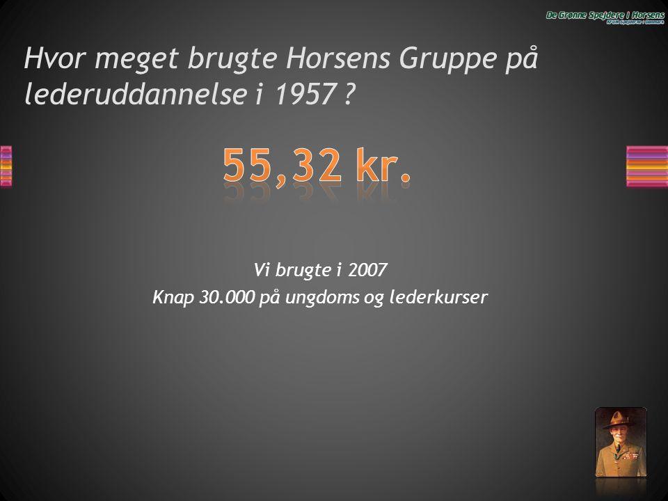 Hvor meget brugte Horsens Gruppe på lederuddannelse i 1957