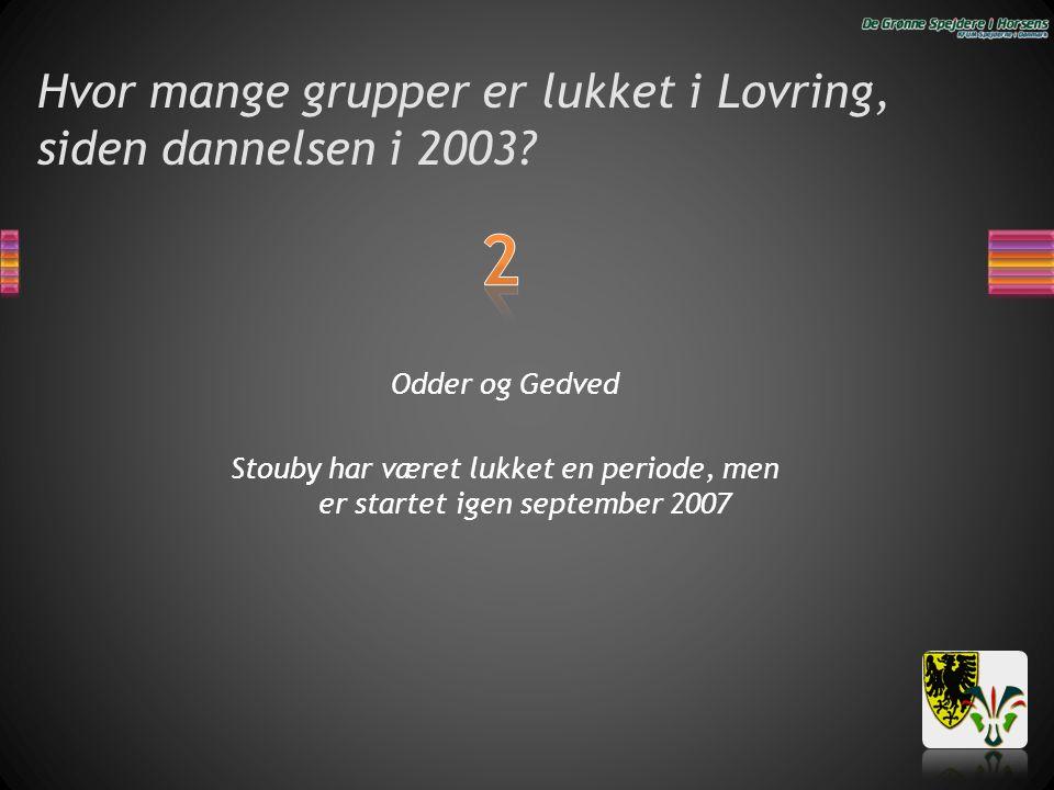 Hvor mange grupper er lukket i Lovring, siden dannelsen i 2003