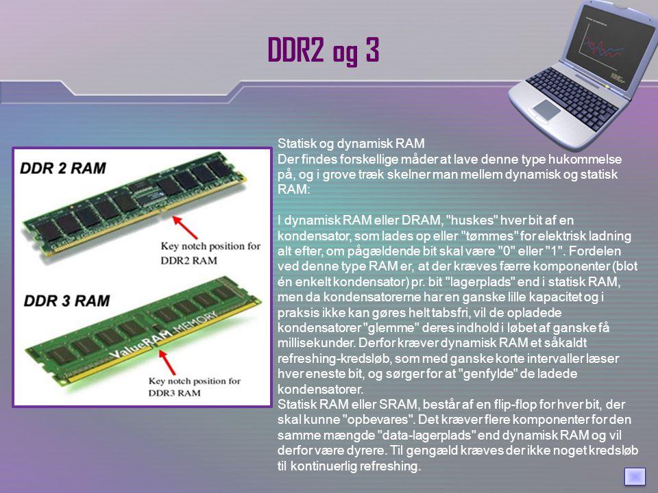 DDR2 og 3 Statisk og dynamisk RAM