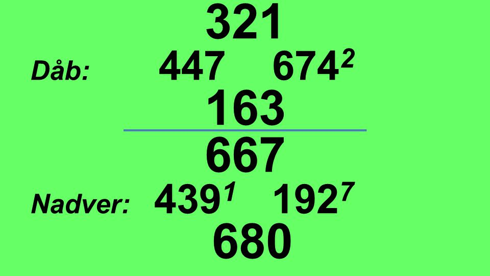 321 Dåb: 447 6742 163 667 Nadver: 4391 1927 680