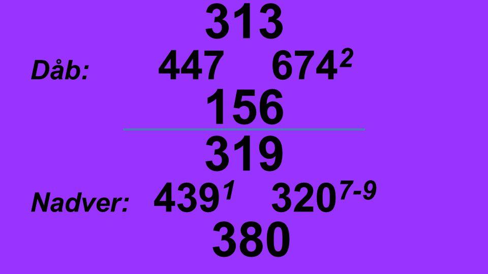 313 Dåb: 447 6742 156 319 Nadver: 4391 3207-9 380