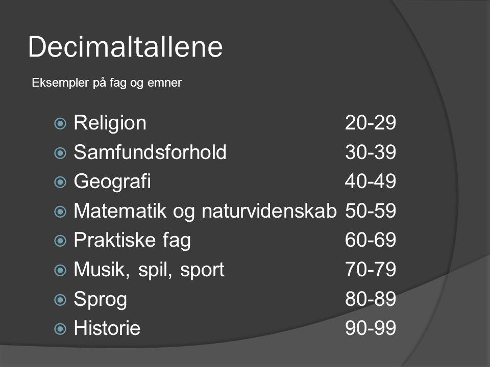 Decimaltallene Religion 20-29 Samfundsforhold 30-39 Geografi 40-49